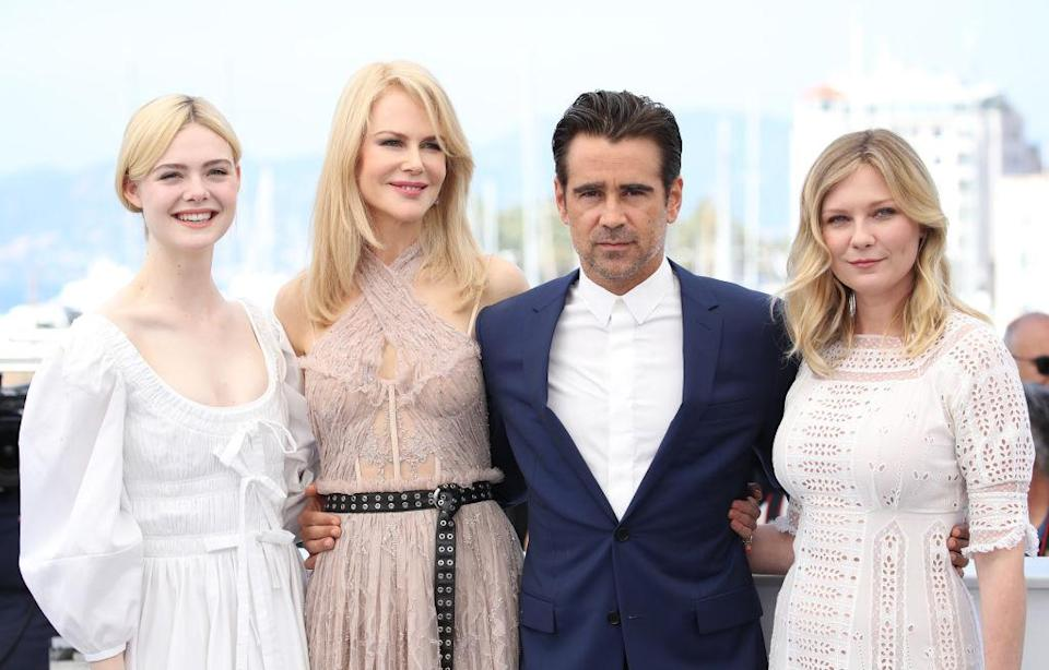 Colin Farrell, with his co-stars in <em>The Beguiled</em>, Elle Fanning, Nicole Kidman, and Kirsten Dunst, at the 2017 Cannes Film Festival. (Photo: Chris Jackson/Getty Images)