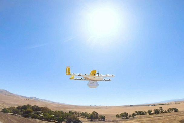 PHOTO: This undated image made from video provided in September 2019 by Wing, a member of the Alphabet family of companies, shows a delivery drone test which is part of a partnership with Walgreens. (Wing via AP)