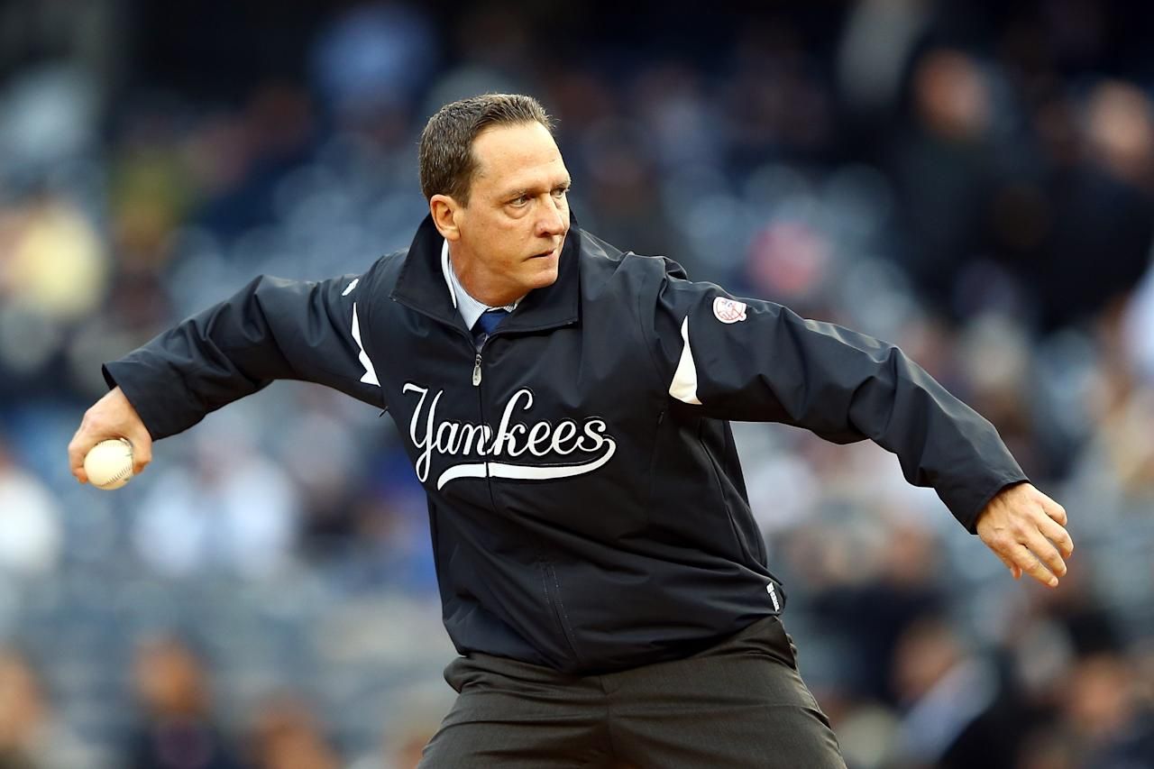 NEW YORK, NY - OCTOBER 12:  Former New York Yankees David Cone throws out the first pitch prior to Game Five of the American League Division Series against the Baltimore Orioles at Yankee Stadium on October 12, 2012 in New York, New York.  (Photo by Al Bello/Getty Images)