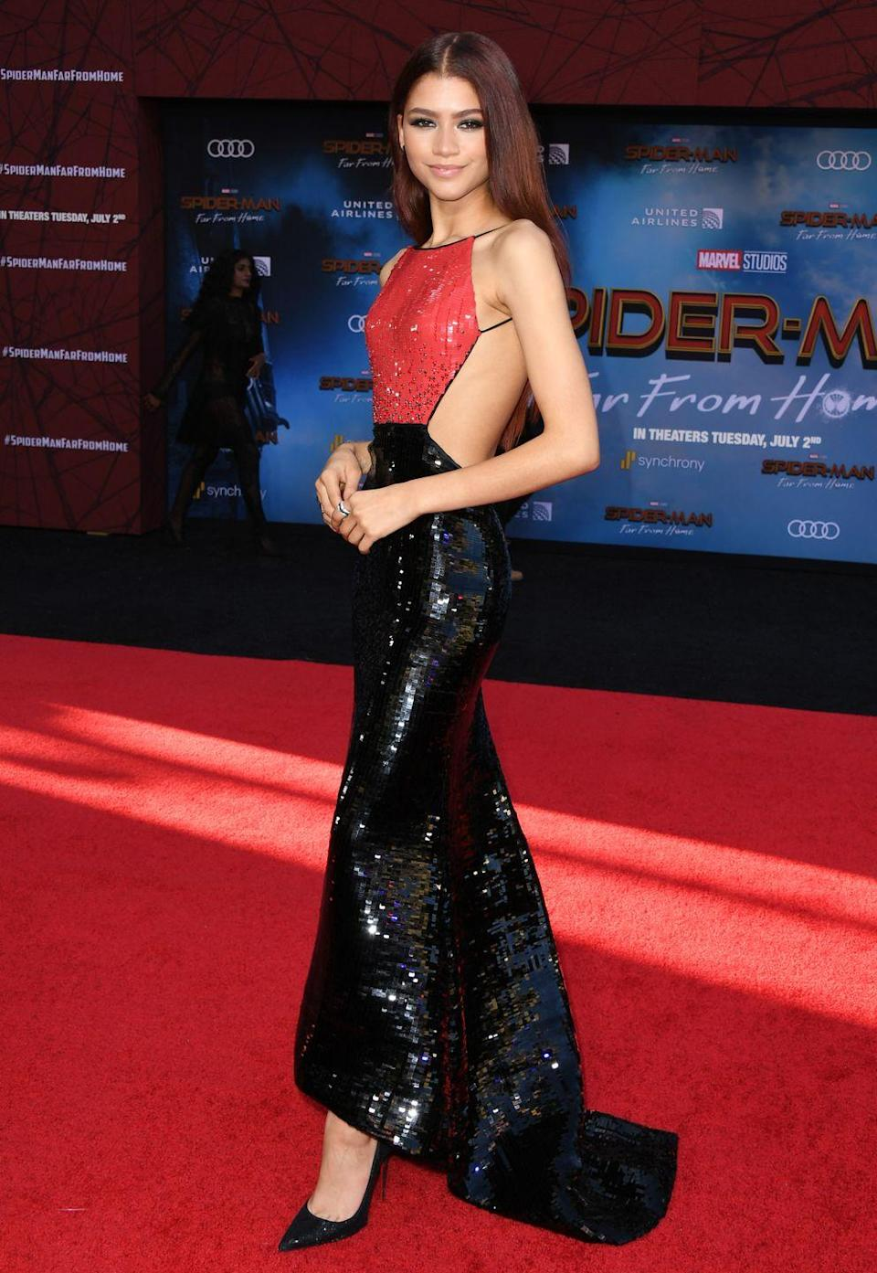 <p>Zendaya stunned in an Armani gown and Louboutin pumps for the <em>Spider-Man: Far From Home </em>premiere. </p>