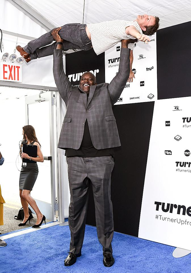 <p>Whoa! At the Turner upfronts, the NBA analyst crammed in a workout, with a little help from the <i>Robot Chicken</i> actor. (Photo: Daniel Zuchnik/WireImage) </p>