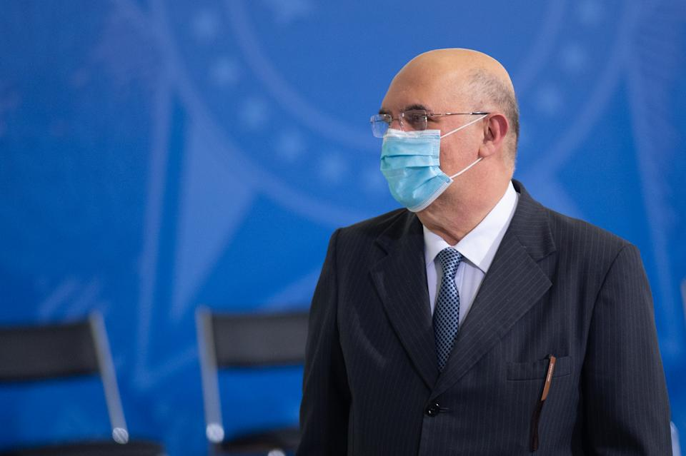 BRASILIA, BRAZIL - SEPTEMBER 16: Minister of Education of Brazil, Milton Ribeiro, reacts before the ceremonyin which Eduardo Pazuello takes office as Minister ofHealthamidst the coronavirus(COVID-19) pandemic at the on September 16, 2020 in Brasilia.Pazuellotook over as interim minister on May 16 this year. Brazil has over 4.382,000 confirmed positive cases of Coronavirus and has over 133,119 deaths. (Photo by Andressa Anholete/Getty Images)