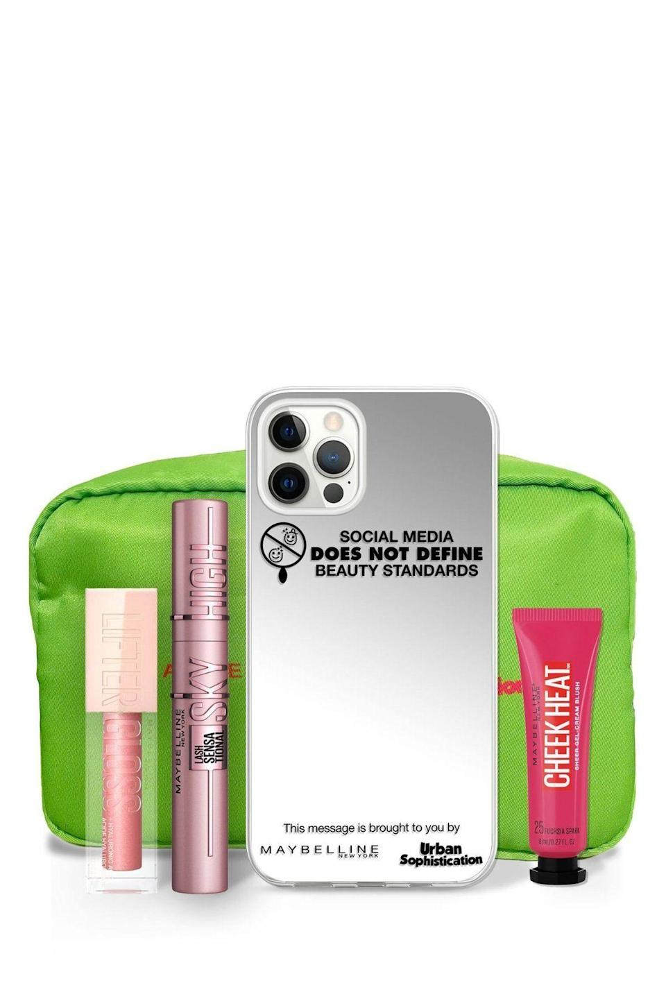 """<p><strong>Maybelline x Urban Sophistication</strong></p><p>urbansophistication.boutique</p><p><strong>$45.00</strong></p><p><a href=""""https://go.redirectingat.com?id=74968X1596630&url=https%3A%2F%2Furbansophistication.boutique%2Fproducts%2Fus-x-maybelline-iphone-case&sref=https%3A%2F%2Fwww.oprahdaily.com%2Flife%2Fg36465535%2Fmental-health-awareness-gifts-that-give-back%2F"""" rel=""""nofollow noopener"""" target=""""_blank"""" data-ylk=""""slk:SHOP NOW"""" class=""""link rapid-noclick-resp"""">SHOP NOW</a></p><p>When we're surrounded by social media all day, it's easy feel """"less than."""" Maybelline partnered with accessories brand Urban Sophistication for this mirrored phone case and makeup kit to remind the wearer that beauty is unique and subjective. All proceeds of this set go to <a href=""""https://www.jedfoundation.org/"""" rel=""""nofollow noopener"""" target=""""_blank"""" data-ylk=""""slk:The Jed Foundation"""" class=""""link rapid-noclick-resp"""">The Jed Foundation</a>. </p>"""