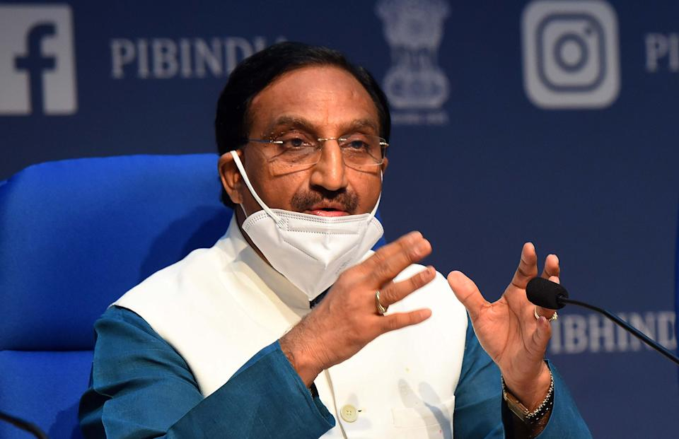 NEW DELHI, INDIA - JULY 29: Union Cabinet Minister Ramesh Pokhriyal addresses media during a press conference on the New Education Policy 2020 after the cabinet meeting, at National Media Centre on July 29, 2020 in New Delhi, India. (Photo by Mohd Zakir/Hindustan Times via Getty Images)