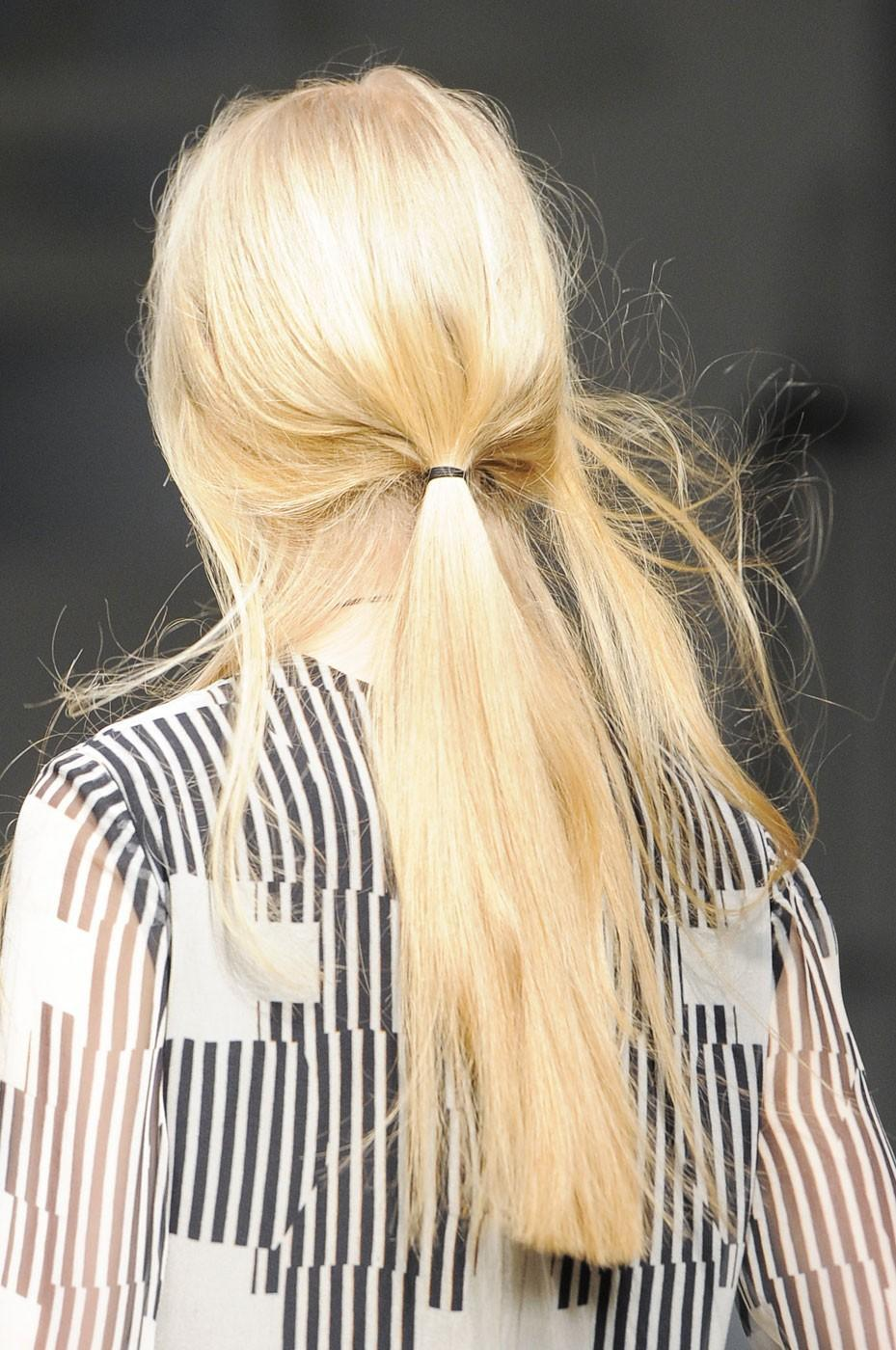 """<div class=""""caption-credit""""> Photo by: Stylecaster Pictures</div>Low Ponytails: Jeremy Laing kept the low ponytail straight and loose with flyaways. <br>"""