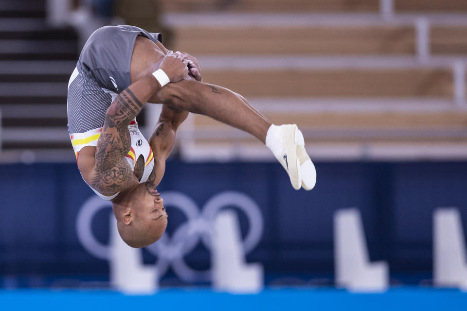 TOKYO, JAPAN - AUGUST 1: (BILD ZEITUNG OUT) Rayderley Zapata of Spain compete during Artistic Gymnastics on day nine of the Tokyo 2020 Olympic Games at Ariake Gymnastics Centre on August 1, 2021 in Tokyo, Japan. (Photo by Tom Weller/DeFodi Images via Getty Images)