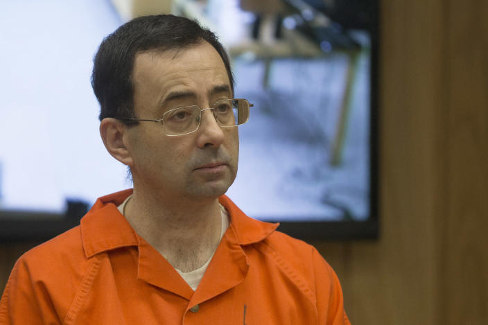 Former Michigan State University and USA Gymnastics doctor Larry Nassar appears in court for his final sentencing on Feb. 5, 2018. (Rena Laverty/AFP/Getty Images)