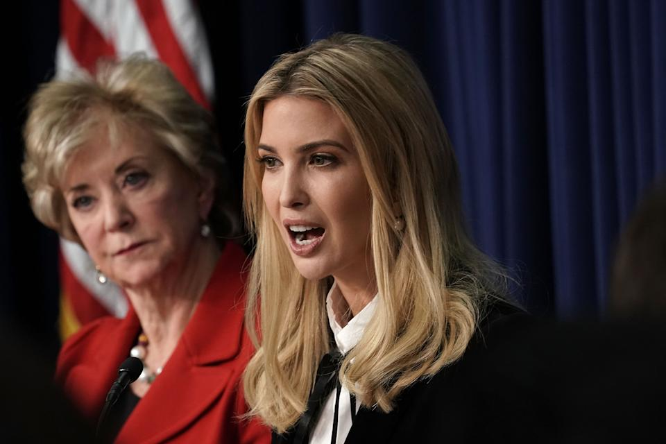 "WASHINGTON, DC - JANUARY 16:  Ivanka Trump (R), Adviser and daughter of President Donald Trump, speaks as U.S. Small Business Administration Administrator Linda McMahon (L) listens as they participate in a Conversations with the Women of America panel at the South Court Auditorium of Eisenhower Executive Office Building January 18, 2018 in Washington, DC. The three-part panel features ""American women from various backgrounds and experiences who will speak with high-level women within the Trump Administration, about what has been accomplished to date to advance women at home, and in the workplace.""   (Photo by Alex Wong/Getty Images)"