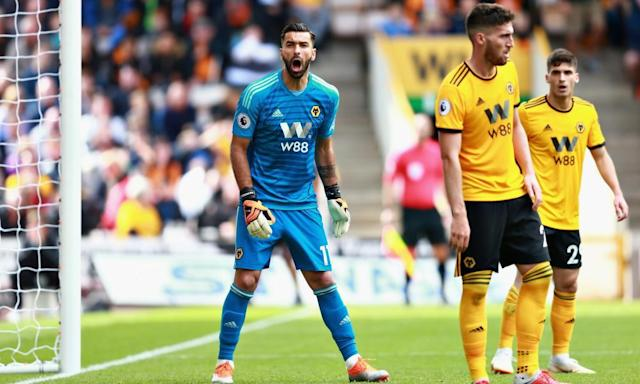 <span>Wolves' Rui Patricio made a stunning stop from Raheem Sterling.</span> <span>Photograph: Chris Brunskill/Fantasista/Getty Images</span>