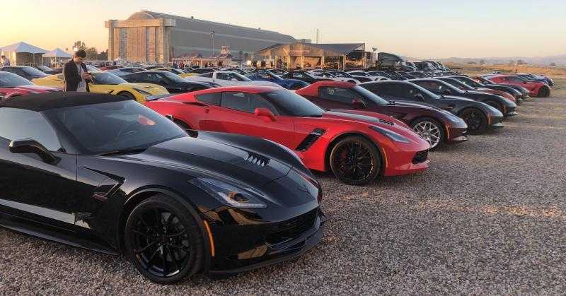 Corvette enthusiasts line up to see the new 2020 Chevrolet C8 Corvette Stingray unveiled in Tustin, California, on Thursday July 18, 2019.