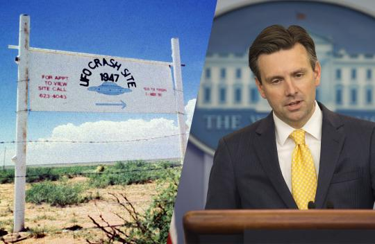 The alleged 1947 crash site of a flying saucer in Roswell, N.M.; Josh Earnest addresses the media on Monday. (Photos: Reuters, Pablo Martinez Monsivais/AP)