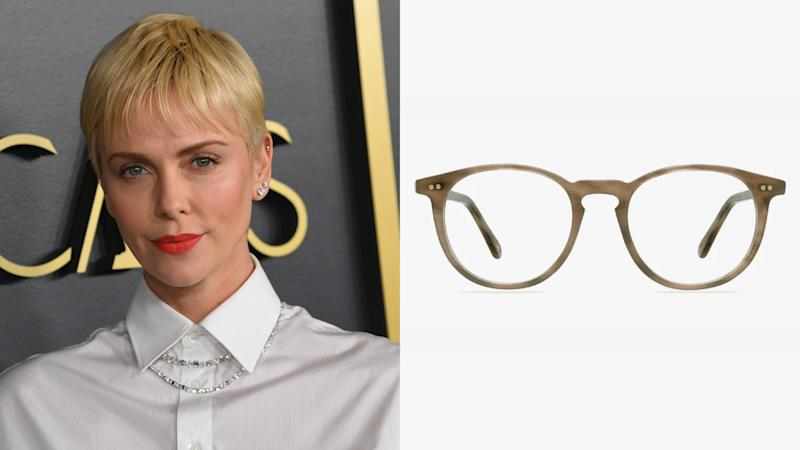 Charlize Theron, Prism Round Chestnut Eyeglasses. (Photo: Getty Images, EyeBuyDirect)
