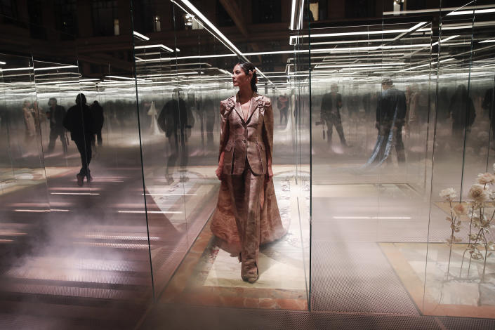 FILE - In this Jan. 27, 2021 file photo, a model wears a creation for Fendi's Spring-Summer 2021 Haute Couture fashion collection presented in Paris. (AP Photo/Francois Mori, File)