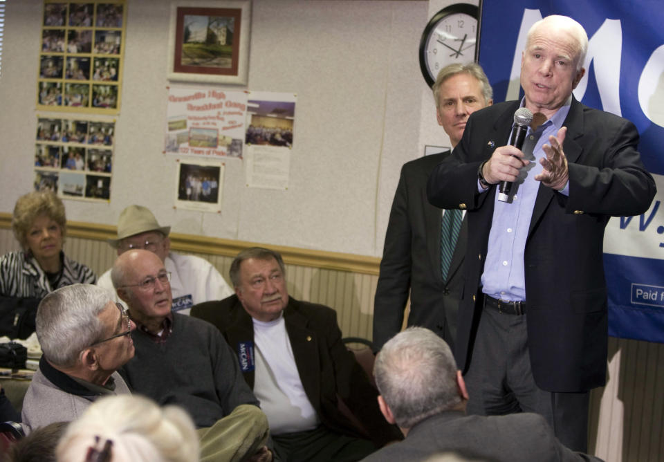 FILE - Republican presidential candidate, Sen. John McCain, R-Ariz., talks to supporters at Tommy's Ham House during a campaign in Greenville, S.C., Thursday, Jan. 10, 2008. For decades, Tommy's Country Ham House has hosted presidential candidates testing their mettle among voters in South Carolina. But the Greenville landmark has announced that it is turning off the fryer and shutting its doors. Owner Tommy Stevenson announced Sunday, Jan. 31, 2021 that Tommy's would close this spring. (AP Photo/Patrick Collard)