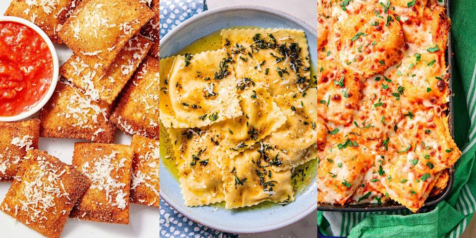 """<p>Fried, baked or steamed, ravioli is the pasta style that just keeps on giving. And we're obsessed! With everything from <a href=""""https://www.delish.com/uk/cooking/recipes/a32624795/butternut-squash-ravioli-recipe/"""" rel=""""nofollow noopener"""" target=""""_blank"""" data-ylk=""""slk:Butternut Squash Ravioli"""" class=""""link rapid-noclick-resp"""">Butternut Squash Ravioli</a> to <a href=""""https://www.delish.com/uk/cooking/recipes/a35595711/pumpkin-ravioli-recipe/"""" rel=""""nofollow noopener"""" target=""""_blank"""" data-ylk=""""slk:Pumpkin Ravioli"""" class=""""link rapid-noclick-resp"""">Pumpkin Ravioli</a>, and even <a href=""""https://www.delish.com/uk/cooking/recipes/a35808396/dessert-ravioli-recipe/"""" rel=""""nofollow noopener"""" target=""""_blank"""" data-ylk=""""slk:Dessert Ravioli"""" class=""""link rapid-noclick-resp"""">Dessert Ravioli</a> (yes, really), there's just SO much to choose from. They make the best <a href=""""https://www.delish.com/uk/kitchen-accessories/g28871146/best-new-cookbooks/"""" rel=""""nofollow noopener"""" target=""""_blank"""" data-ylk=""""slk:weeknight dinners"""" class=""""link rapid-noclick-resp"""">weeknight dinners</a>, easy work-from-home <a href=""""https://www.delish.com/uk/cooking/recipes/g29890570/healthy-lunch-ideas/"""" rel=""""nofollow noopener"""" target=""""_blank"""" data-ylk=""""slk:lunches"""" class=""""link rapid-noclick-resp"""">lunches</a> and to-die-for afternoon snacks (did you know you can <a href=""""https://www.delish.com/uk/cooking/recipes/a35898703/fried-ravioli-recipe/"""" rel=""""nofollow noopener"""" target=""""_blank"""" data-ylk=""""slk:fry ravioli"""" class=""""link rapid-noclick-resp"""">fry ravioli</a>?). So, if you're looking for ways to level up your <a href=""""https://www.delish.com/uk/pasta-recipes/"""" rel=""""nofollow noopener"""" target=""""_blank"""" data-ylk=""""slk:pasta"""" class=""""link rapid-noclick-resp"""">pasta</a> game, take a look at some of our favourite ravioli recipes now. </p>"""