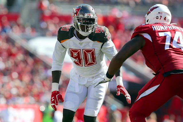 Jason Pierre-Paul will rejoin the Bucs' pass rush alongside Shaq Barrett. (Cliff Welch/Icon Sportswire via Getty Images)