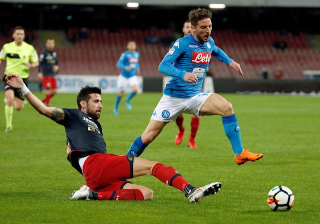 Soccer Football - Serie A - Napoli vs Genoa - Stadio San Paolo, Naples, Italy - March 18, 2018 Napoli's Dries Mertens in action with Genoa's Nicolas Spolli REUTERS/Ciro De Luca