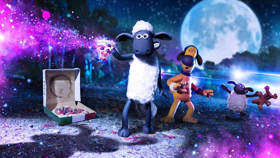 Shaun gets a slice of the action in this new still from <i>Shaun The Sheep Movie: Farmageddon</i>. (©2019 Aardman Animations Ltd and STUDIOCANAL SAS All Rights Reserved.)