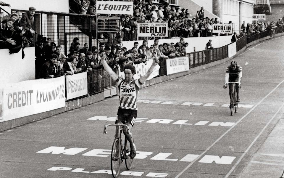 Sean Kelly crosses the line to win the first of his two Paris-Roubaix titles back in 1984 - REX FEATURES