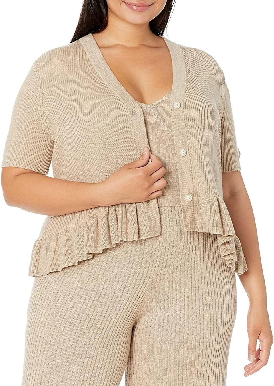<p>How cute is this <span>The Drop Catalina Peplum Ruffle Cardigan Sweater</span> ($45)? There are even a matching cami and pants available to go with it so you can create a polished look.</p>