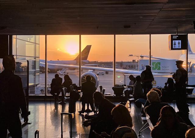 Travels at departure gates at Frankfurt Airport, one of Europe's busiest airports. (EyesWideOpen/Getty Images)