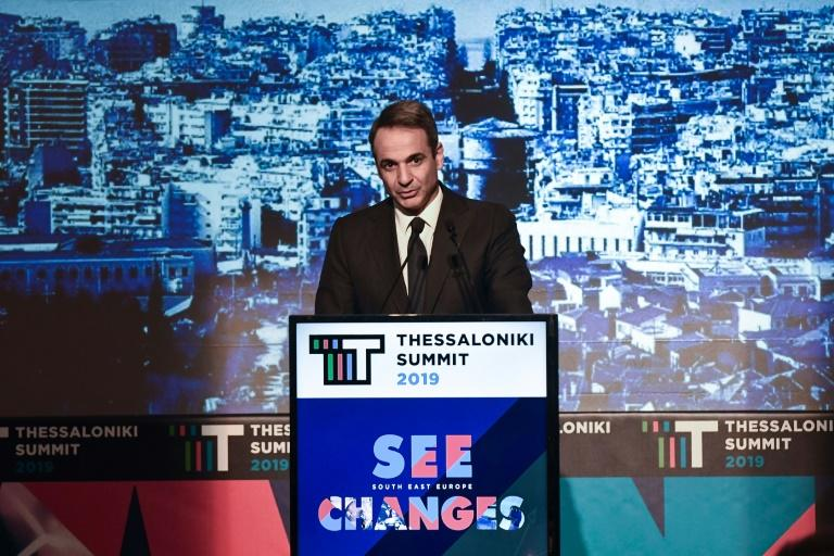 Greek Prime Minister Kyriakos Mitsotakis, who has pledged a tougher approach on migration, delivers a speeech to business leaders in Thessaloniki