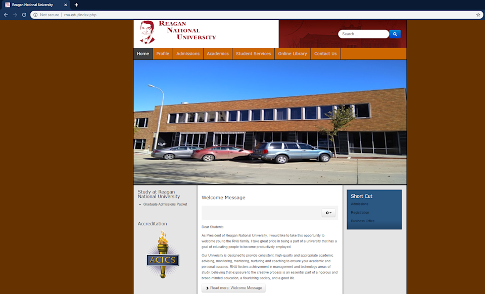 A look at what used to be the homepage for Reagan National University, which listed its address in Sioux Falls, S.D. The web page prominently features the university's accreditation by the Accrediting Council for Independent Colleges & Schools.
