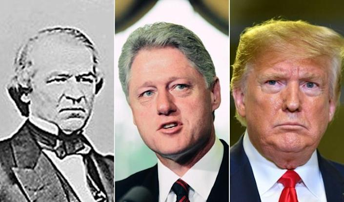 Former US presidents Andrew Johnson and Bill Clinton, and President Donald Trump -- all faced impeachment proceedings (AFP Photo/MATHEW BRADY, MANDEL NGAN, CHUCK KENNEDY)