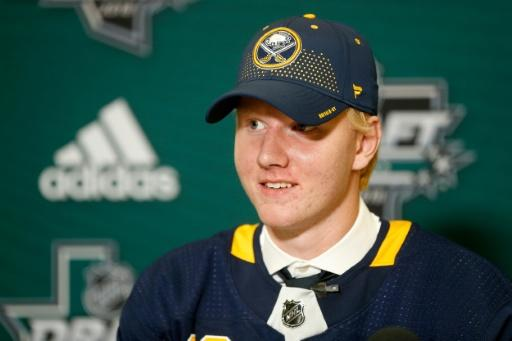 Rasmus Dahlin answers questions from the media after being selected first overall by the Buffalo Sabres during the first round of the 2018 NHL Draft, at American Airlines Center in Dallas, Texas, on June 22