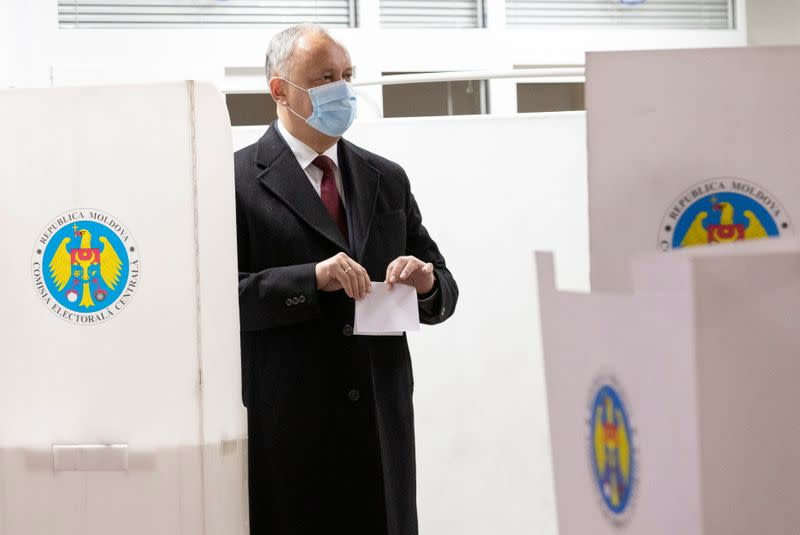 Votes at a Moldova's presidential election in Chisinau