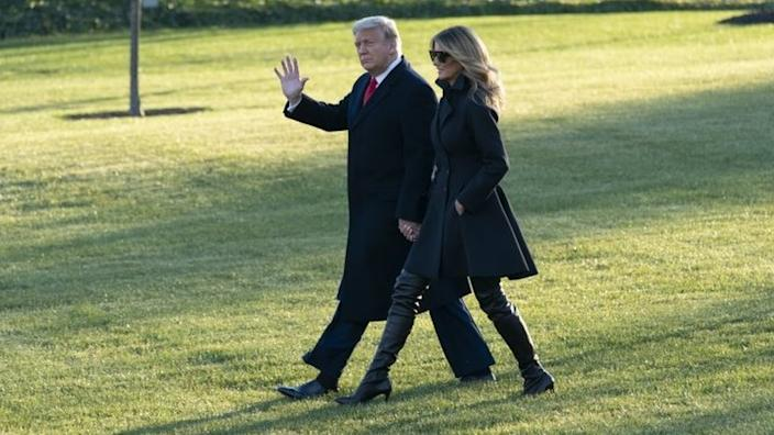US President Donald Trump and First Lady Melania Trump prepare to fly from Washington DC to Florida. Photo: 23 December 2020