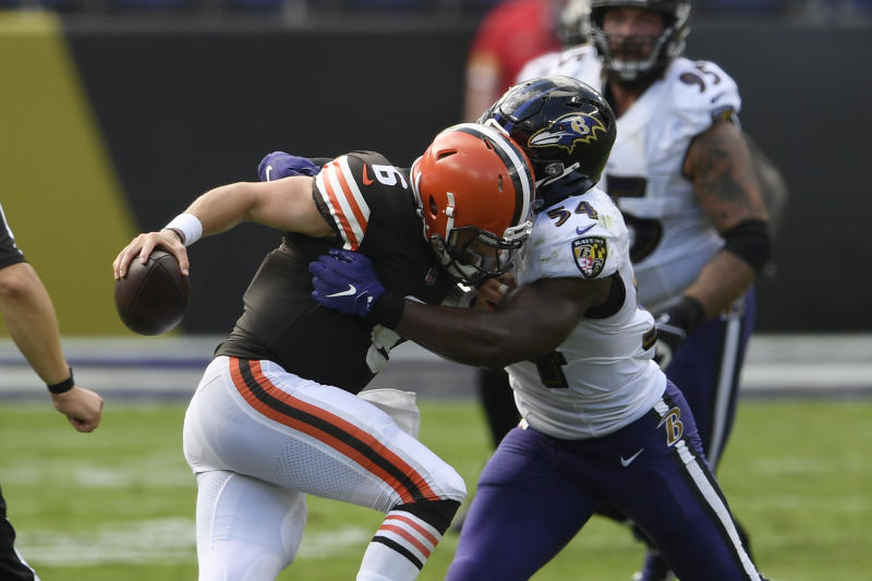 Baltimore Ravens linebacker Tyus Bowser (54) sacks Cleveland Browns quarterback Baker Mayfield (6). (AP Photo/Julio Cortez)