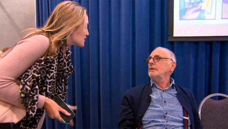 Candice, the daughter of a man who took his own life, confronted Philip Nitschke AKA 'Dr Death' at a Perth euthanasia forum.