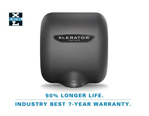 Excel Dryer Again Sets a New Standard: XLERATOR Hand Dryer Models Now Offered With 50% Longer Life and Industry-leading 7-Year Warranty