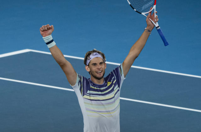 MELBOURNE, AUSTRALIA - JANUARY 31: Dominic Thiem of Austria celebrates his victory in his semi-final match against Alexander Zverev of Germany on day twelve of the 2020 Australian Open at Melbourne Park on January 31, 2020 in Melbourne, Australia. (Photo by TPN/Getty Images)