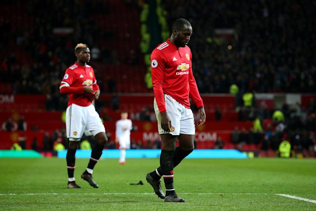 "<a class=""link rapid-noclick-resp"" href=""/soccer/players/romelu-lukaku/"" data-ylk=""slk:Romelu Lukaku"">Romelu Lukaku</a> (right) an Paul Pogba walk off the Old Trafford field after Manchester United's 2-2 draw with Burnley. (Getty)"