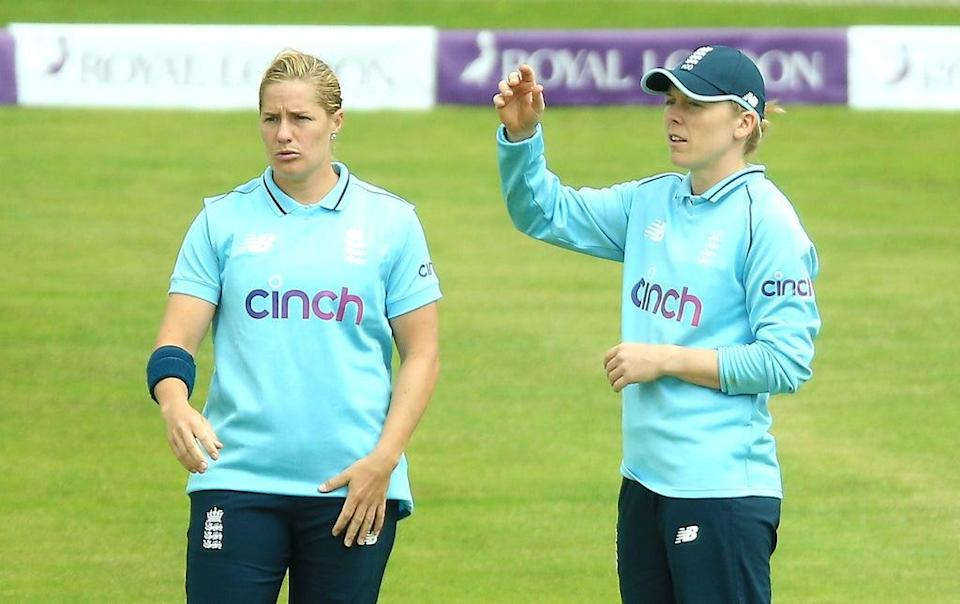 Heather Knight, right, says England will carefully manage 36-year-old veteran Katherine Brunt (Nigel French/PA) (PA Wire)