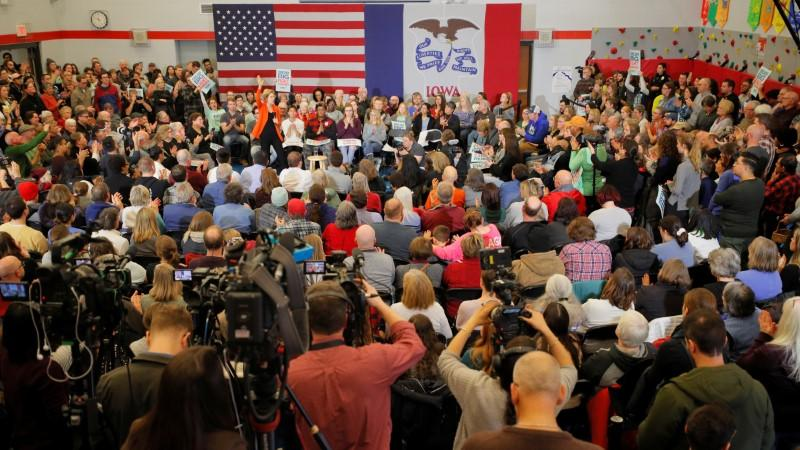 Democratic 2020 U.S. presidential candidate Warren speaks at a campaign town hall meeting in Marshalltown