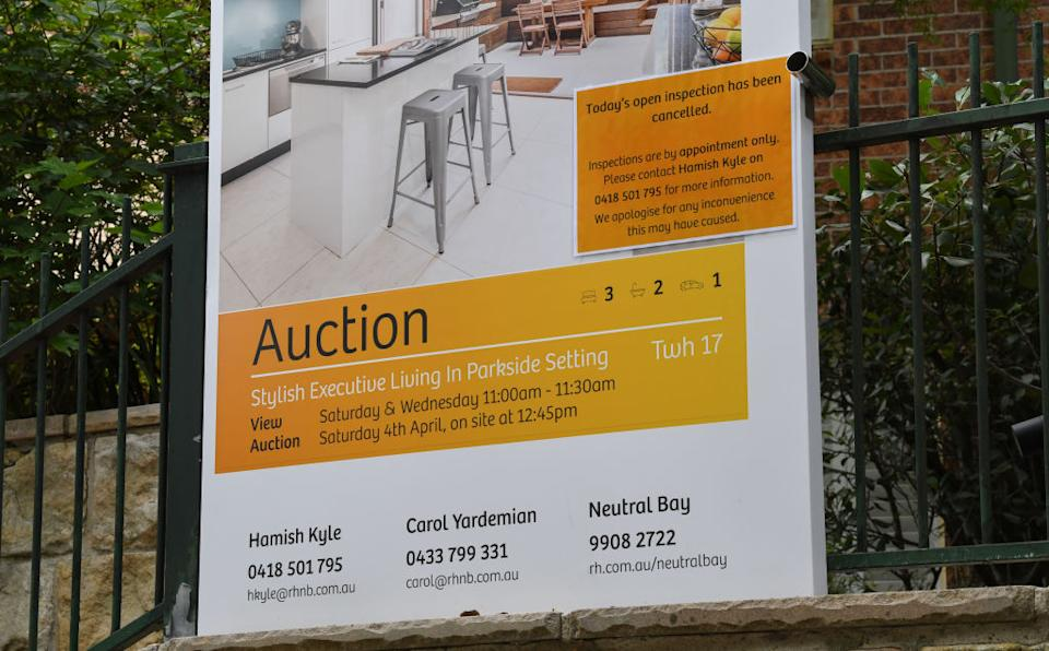 SYDNEY, AUSTRALIA - MARCH 25: Auction signs outside properties in the suburb of North Sydney on March 25, 2020 in Sydney, Australia. (Photo by James D. Morgan/Getty Images)