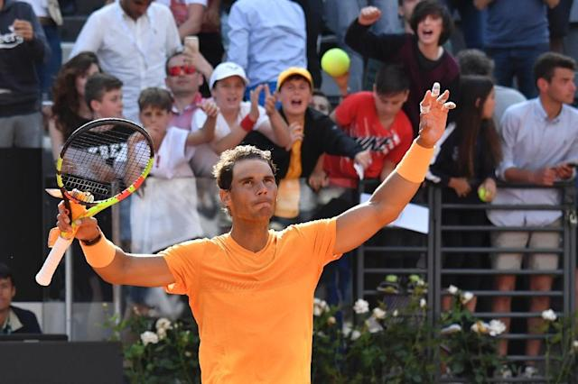 Rafael Nadal made short work of Denis Shapovalov to reach the Italian Open quarter-finals (AFP Photo/Andreas SOLARO)