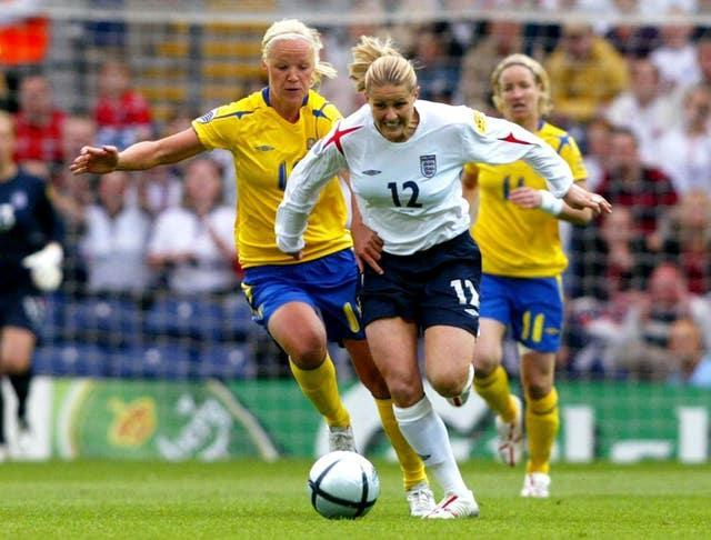 Kelly Smith (right) scored 46 goals in 117 appearances for England (Martin Rickett/PA).