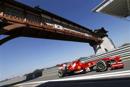 Ferrari Formula One driver Massa drives during the first practice session of the Korean F1 Grand Prix at the Korea International Circuit in Yeongam