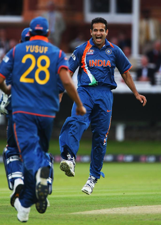 LONDON, ENGLAND - JUNE 12: Irfan Pathan of India celebrates the wicket of Andre Fletcher of West Indies during the ICC World Twenty20 Super Eights match between India and West Indies at Lord's on June 12, 2009 in London, England.  (Photo by Tom Shaw/Getty Images)