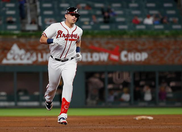Braves rookie Austin Riley reached 10 career homers much faster than any player in franchise history during the modern era. That includes Hall of Famers Hank Aaron, Eddie Mathews and Chipper Jones. (Photo by Kevin C. Cox/Getty Images)