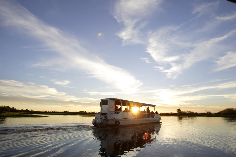 A sunrise cruise on the Yellow Water Billabong is recommended for anyone keep to spot a crocodile. Photo: Supplied