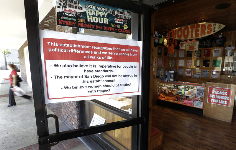 A woman passes the entrance to a Hooters restaurant with a sign stating that San Diego Mayor Bob Filner will not be served at the establishment Tuesday, Aug. 13, 2013, in San Diego. More than a dozen women have accused the 70-year-old former congressman of making unwanted advances, such as inappropriate statements or groping. In addition to an effort to force a recall, there have been numerous calls for him to resign immediately. (AP Photo/Gregory Bull)