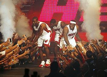 Wade says he has no regrets about celebrating onstage with Chris Bosh and LeBron James before the trio ever played a game together