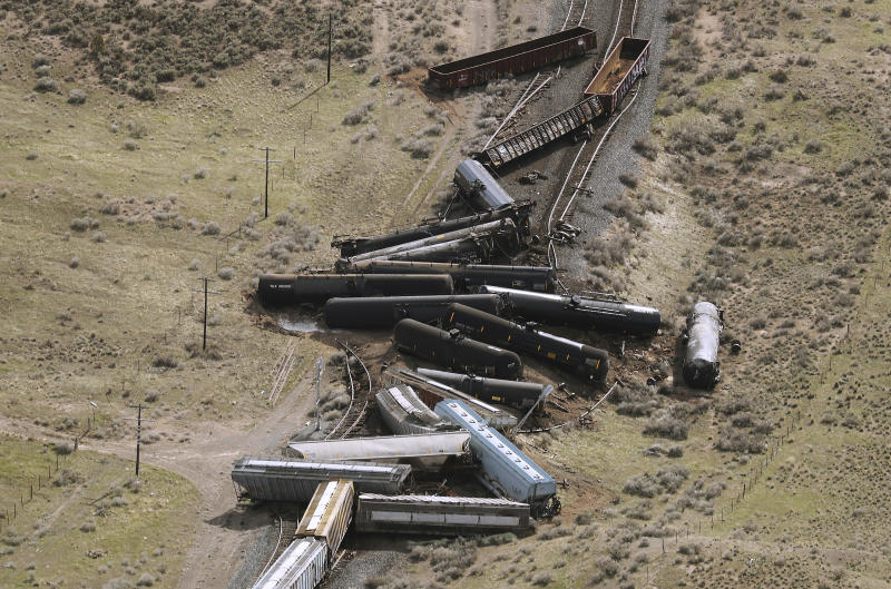 Twenty three Union Pacific train cars derailed, on Saturday, March 30, 2019, releasing an unknown quantity of propane after one car overturned about six to eight miles south of Eureka, Utah. Officials blew up 11 derailed tanker cars containing propane and biodiesel in a controlled detonation Sunday night, March 31, 2019. No passengers were on board the train. (Jeffrey D. Allred/The Deseret News via AP)