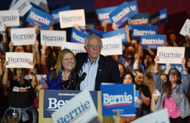 PHOTO: Democratic presidential candidate Senator Bernie Sanders celebrates with his wife Jane after being declared the winner of the Nevada Caucus as he holds a campaign rally in San Antonio, Texas, Feb 22, 2020. (Callaghan O'hare/Reuters)
