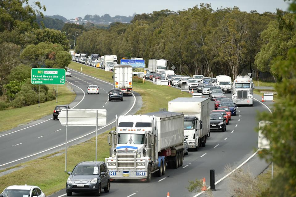 A general view of traffic congestion on the Gold Coast Highway the day the Queensland border reopened. Source: Getty Images